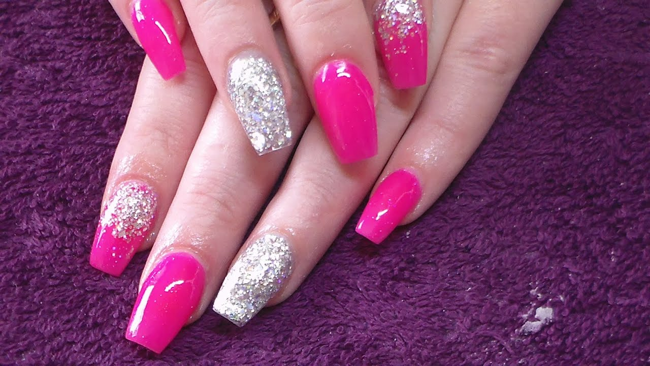 Acrylic Nails | Clients Neon Pink - YouTube