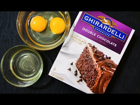 How to make Ghirardelli Double Chocolate Premium Cake with Chocolate Ganache Frosting