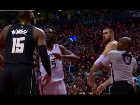 Greg Monroe Jonas Valanciunas Fight - Game 5 - Raptors vs Bucks