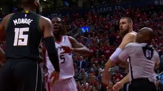 Greg Monroe Jonas Valanciunas Fight - Game 5 - Raptors vs Bucks