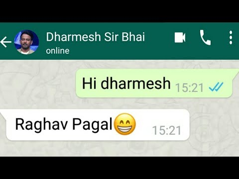 Raghav Juyal Comedy WhatsApp Chat Conversation With Dharmesh Sir - Funny Moments 2018