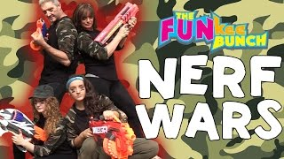 NERF WAR Gun Challenge, Enter the WAR ZONE, BEWARE! Parents vs. Kids FUNkee Bunch w/ Nerdy Boy thumbnail