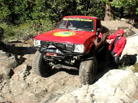 Walking the Crawler up the famous Cadillac Rock, Rubicon Trail
