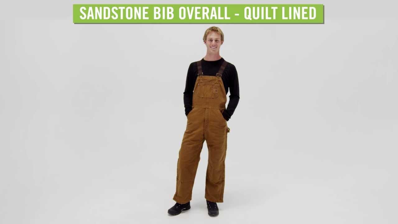 aa3f568c5c Carhartt Men's Sandstone Bib Overall - Quilt Lined - YouTube