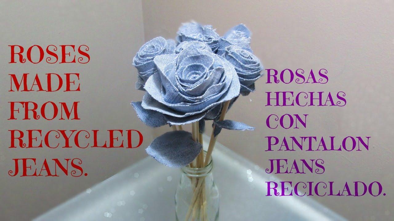 Rosas hechas con tela de pantalon jeans reciclado youtube - Flores de telas hechas a mano ...