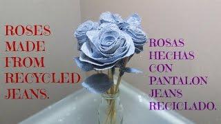Rosas feitas com tecido jeans reciclado
