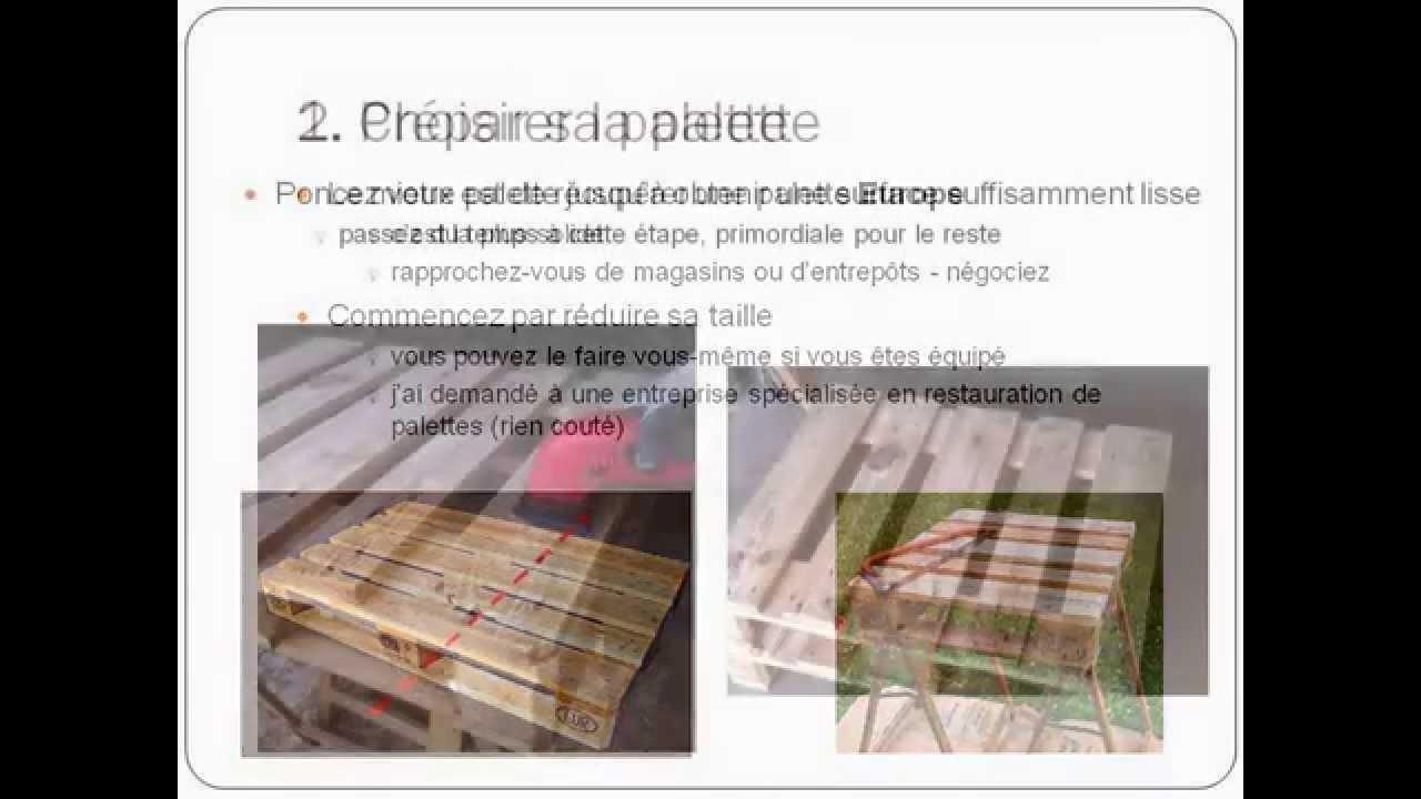Fabriquer une table basse avec une palette de r cup ration youtube for Fabriquer table de jardin avec palette