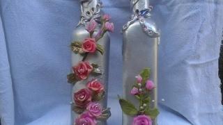 Como decorar garrafinha de azeite reciclada