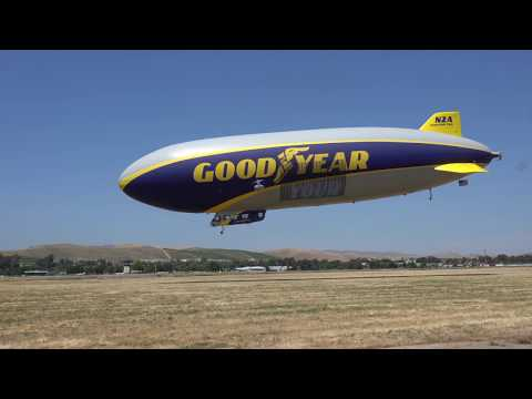 Landing and takeoff. Goodyear 2016 N2A  Wingfoot Two Blimp at Livermore Airport California 2018.