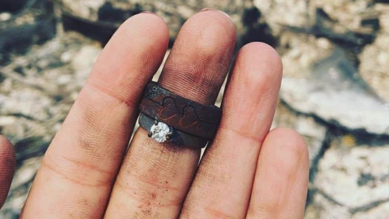 Couple Finds Engagement Rings In The Ashes Of House That. Day The Dead Wedding Rings. Tacky Wedding Rings. Ultra Modern Engagement Rings. Turquoise Blue Engagement Rings. Surprise Rings. Classy Engagement Rings. Police Officer Wedding Rings. Detroit Tigers Rings