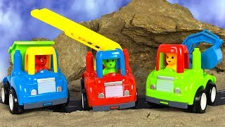 UNBOXING MIGHTY MACHINES WITH GARBAGE TRUCK  CEMENT TRUCK & MORE