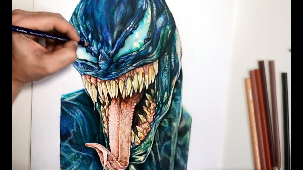venom the movie speed drawing by alessandro conti youtube