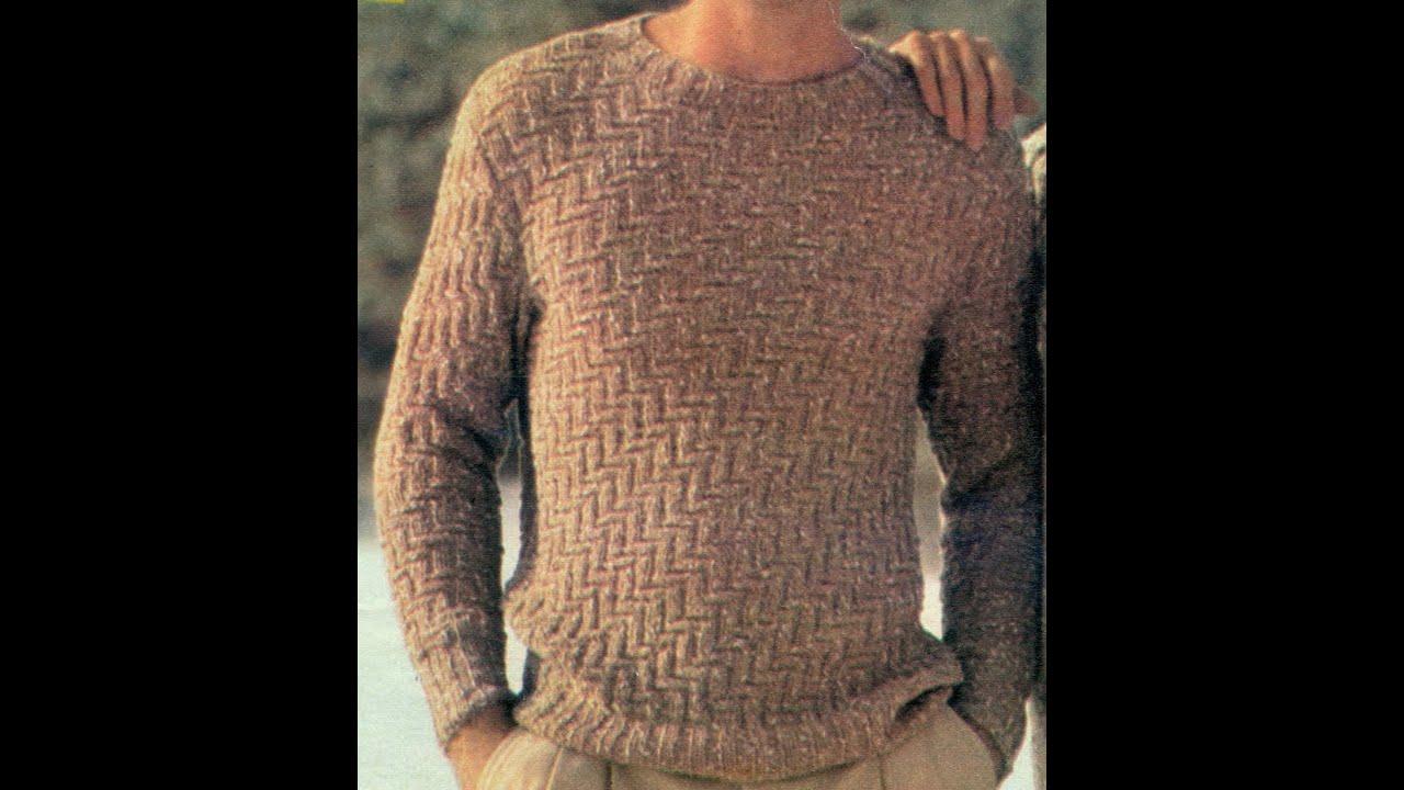 Esquemas para tejer suéter para caballero a punto de relieve y zig ...