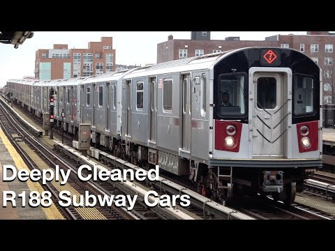⁴ᴷ Deeply Cleaned R188 Subway Cars On The (7) Line