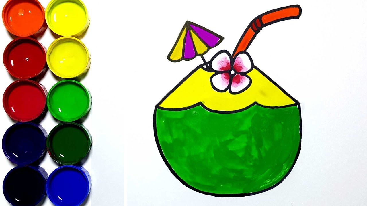 Draw And Paint Coconut Drink For Kids