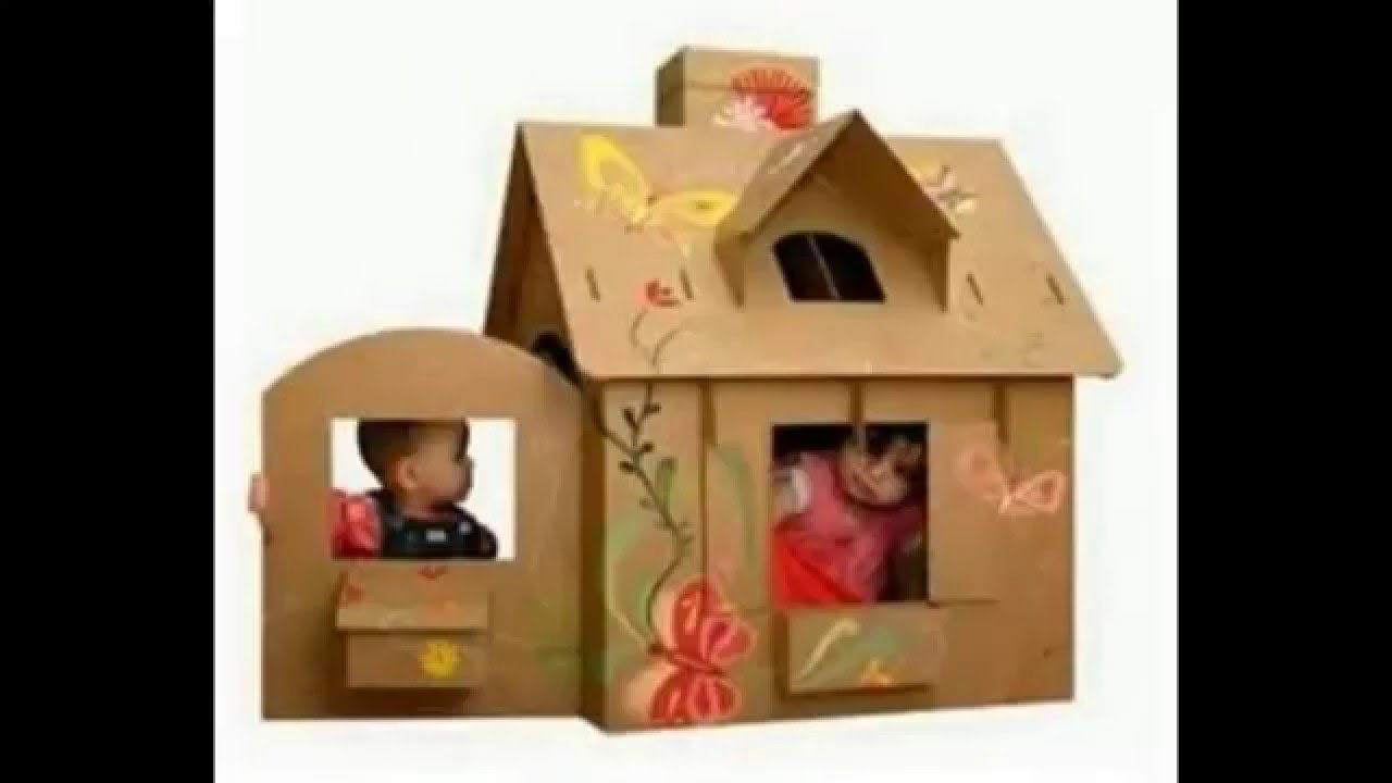 Casitas de carton para ninos y munecas de 25 ideas youtube - Casita con tobogan para ninos ...