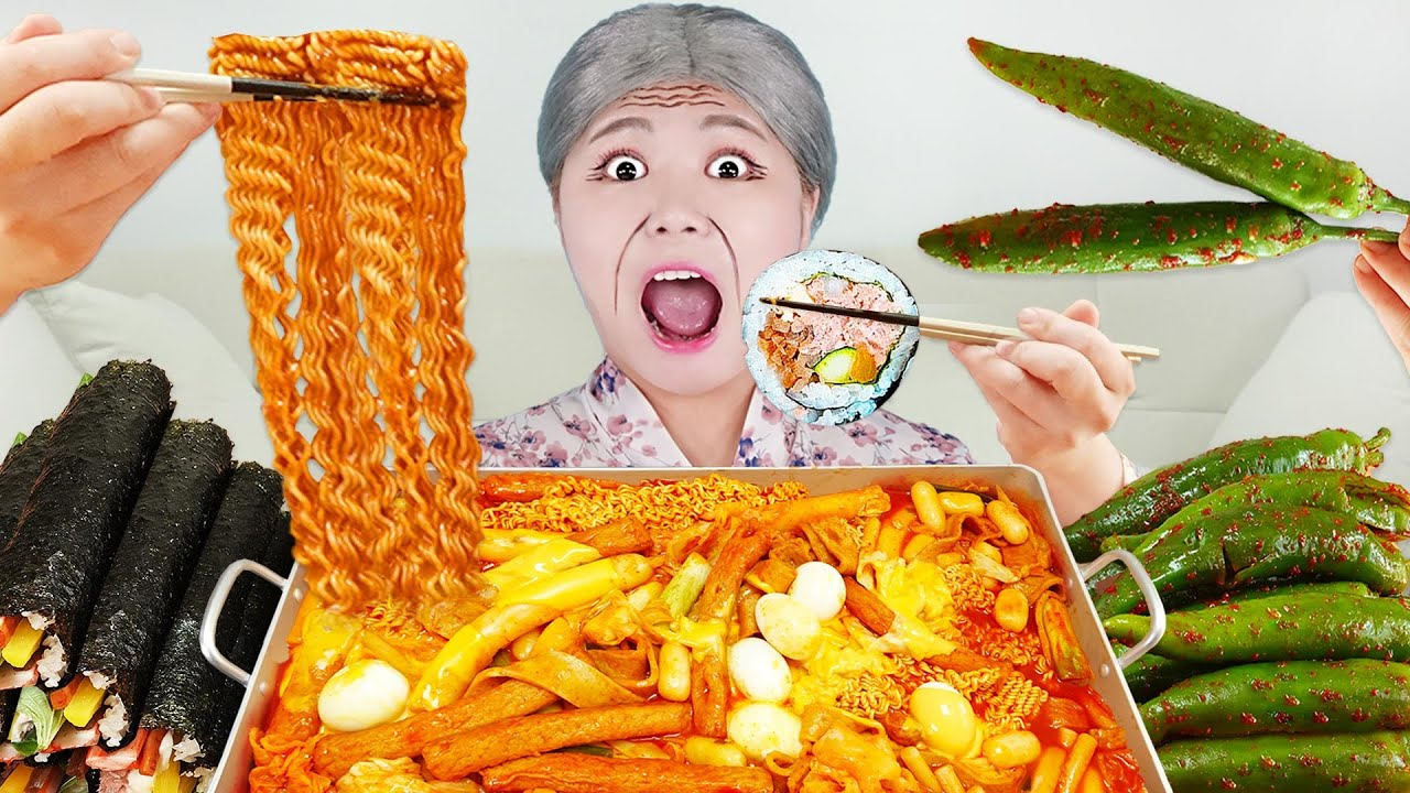 Download MUKBANG SPICY TTEOKBOKKI FIRE NOODLES Gimbap EATING Korean Food by HIU 하이유