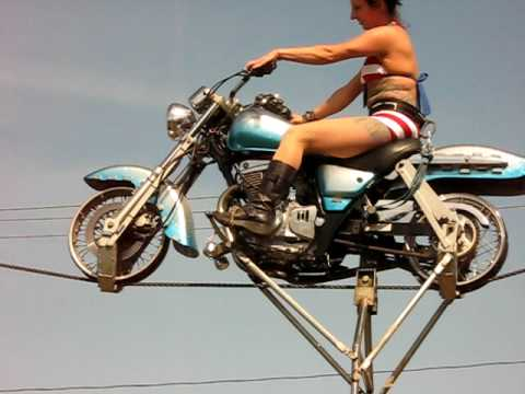 High wire motorcycle girls - YouTube