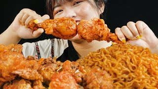 ASMR CHEESY FRIED CHICKEN + SPICY NOODLE  MUKBANG