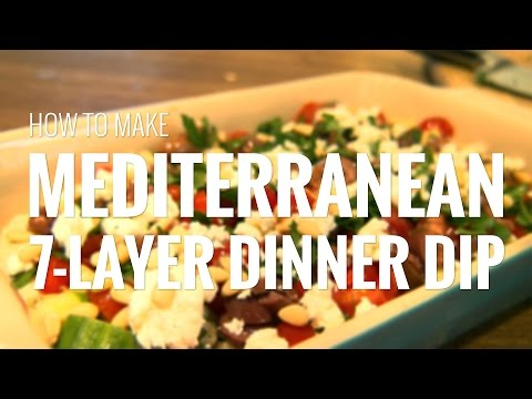 How to Make Mediterranean 7-Layer Dip For Dinner with Hummus, Feta, Tomatoes