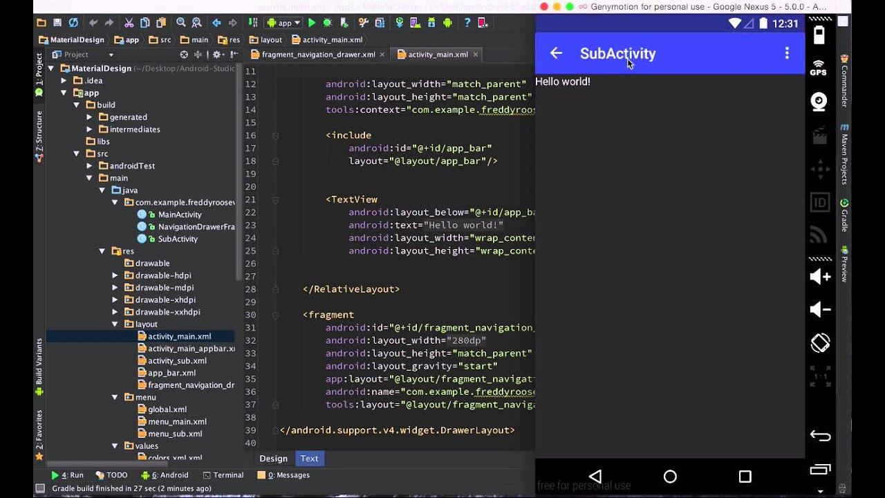 Android Studio Tutorial Navigation Drawer