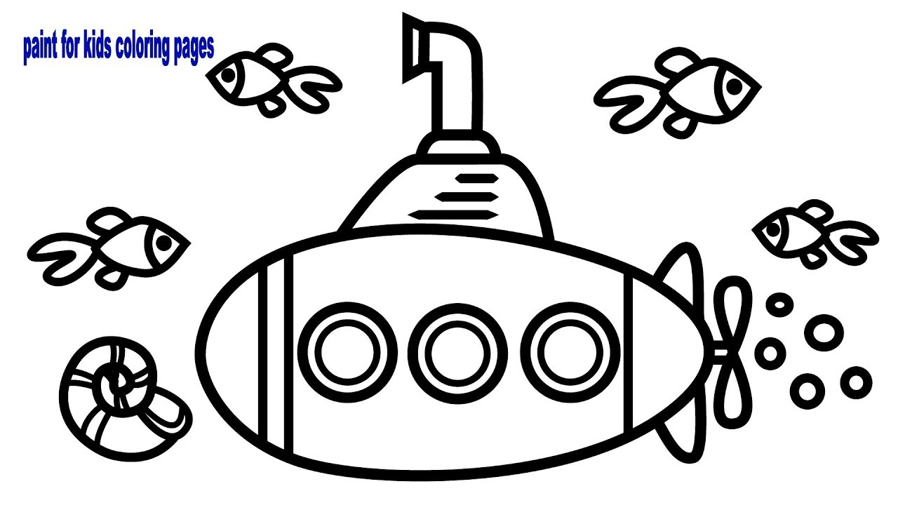 Coloring Pages Underwater Submarine at Sea for Children ...