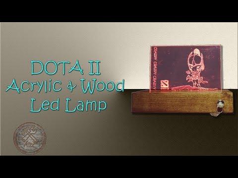 Dota 2 - Acrylic and Wood  LED Lamp