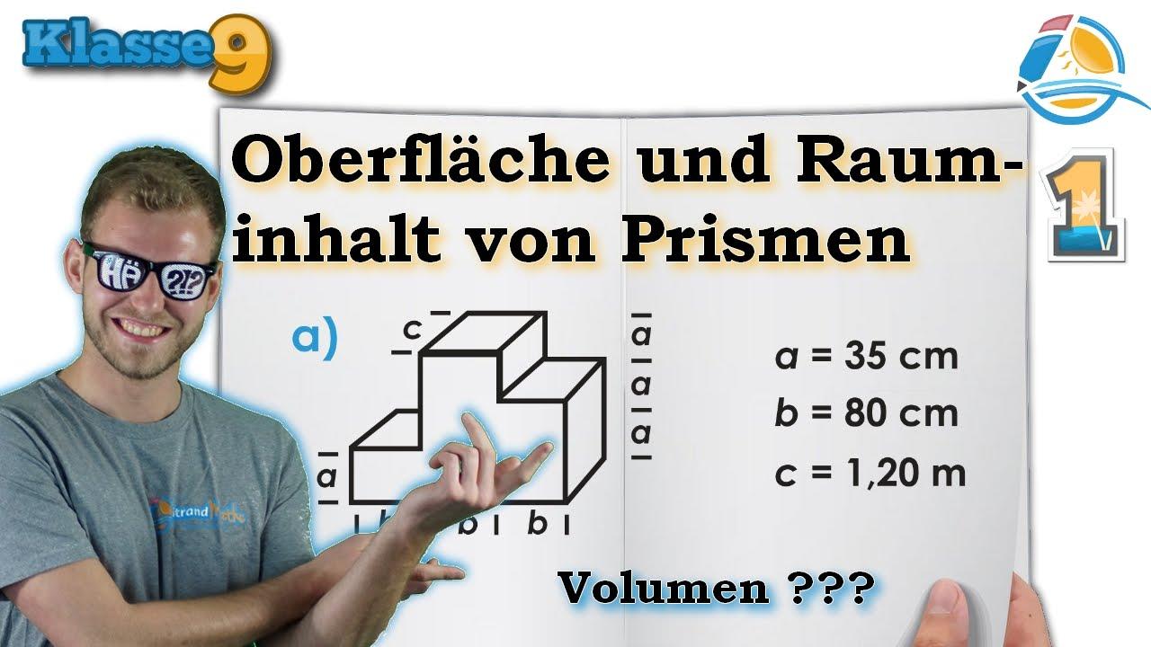 Prisma Oberfläche Volumen Rauminhalt || Klasse 9 ☆ Übung 1 - YouTube