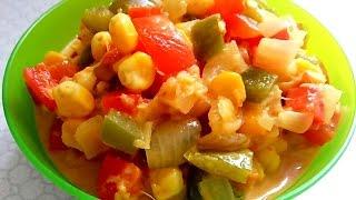 Corn capsicum gravy - Indian style Corn-Capsicum sabji