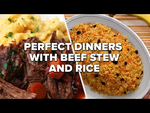 Perfect Dinners with Beef Stew and Rice • Tasty Recipes