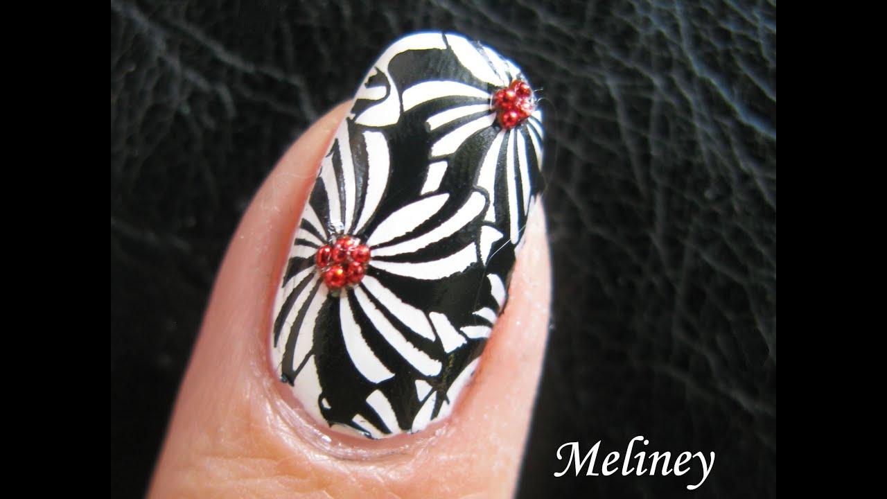 Konad Stamping Nail Art - Pinwheel Flower Design black and white ...