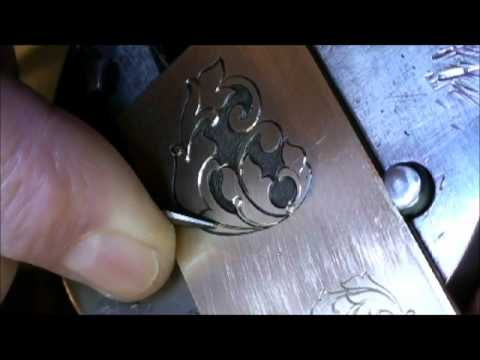 Jim Small Hand Engraving a brass practice plate..... - YouTube