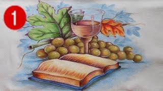 Pintura em Tecido – Bíblia Uvas e Cálice Parte 1 – 2