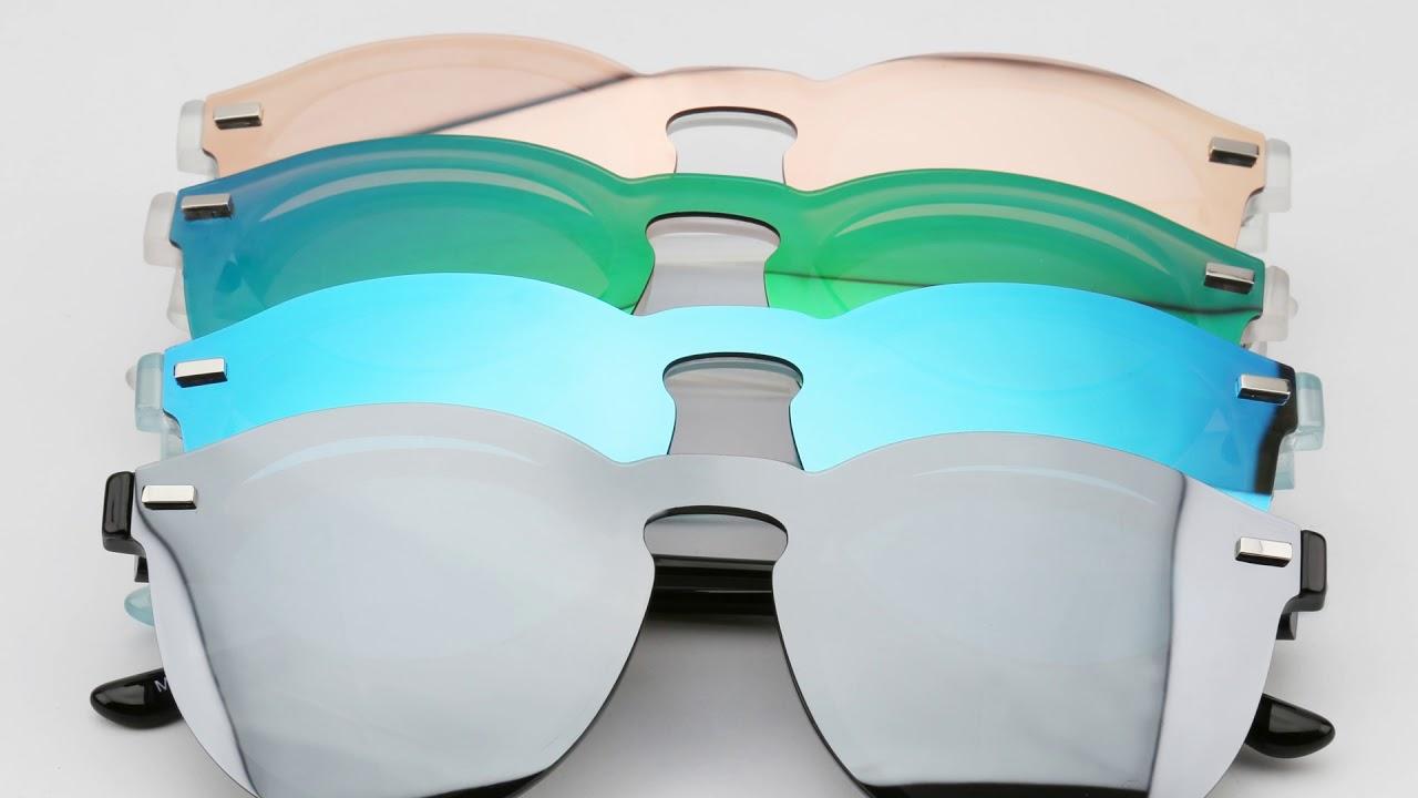 124f618125 Women Men Rimless Polarized Sunglasses Club Round Rimless Mirrored  Reflective Wayfarer