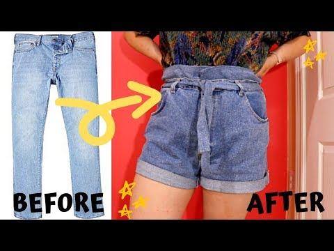 DIY EASY Paper Bag Denim Shorts || Turn Old Jeans to Shorts