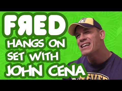 Fred hangs on set with John Cena