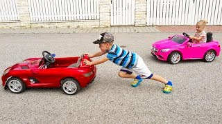 Thomas and Elis Outdoor Activity with Power Wheel Mercedes Ride On electric Cars