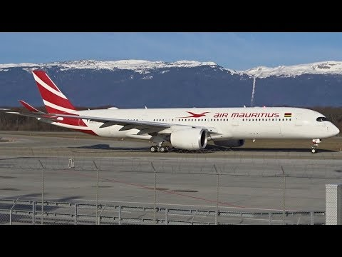 First visit ! Air Mauritius Airbus A350-900 XWB takeoff at Geneva/GVA/LSGG
