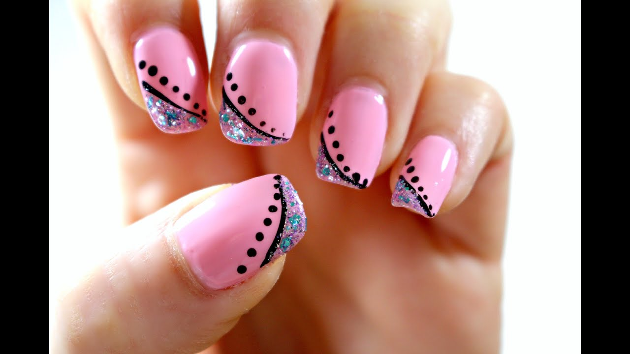 Elegant pink nail art tutorial perfect for short nails youtube prinsesfo Image collections