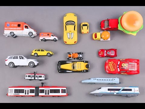 Learn Big And Small Vehicles For Kids Children Babies Toddlers With Ambulance Disney Car Burger Van