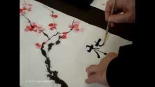 Китайский рисунок восточная живопись дерево сакура(Данный ролик показывает результат как за 2 недели научится рисовать тушью, а именно писать иероглифы. Испол..., 2013-04-06T11:58:08.000Z)