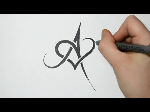 Drawing Letter A and Heart Combined - Tribal Tattoo Design
