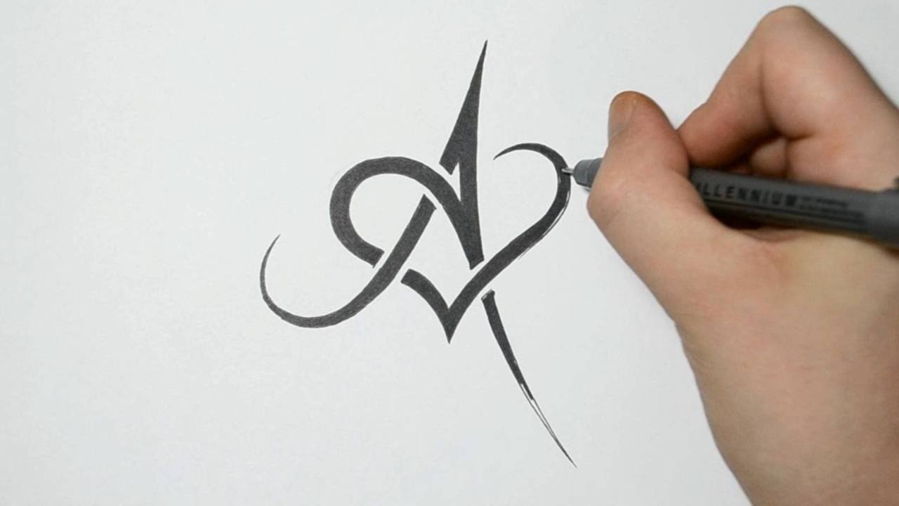 drawing letter a and heart combined tribal tattoo design