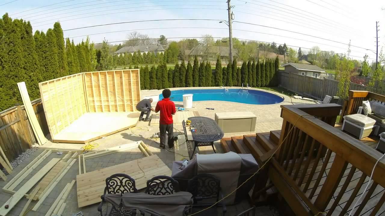 duro shed cedar pool cabana build time lapse youtube