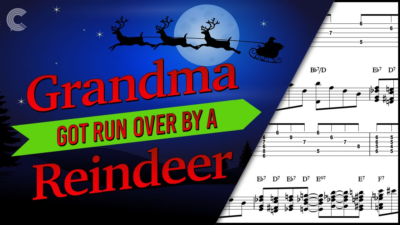 flute grandma got run over by a reindeer christmas carol sheet music chords vocals