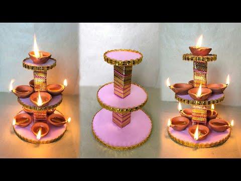 Diya Stand Making At Home // Diwali Decorations Ideas // Diya Stand Decorations Ideas