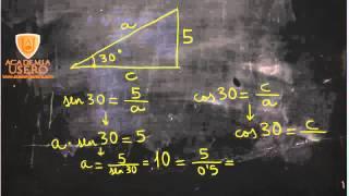 Dadas hipotenusa y ángulo, calcular cateto Matemáticas Acceso CFGS Academia Usero