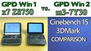 GPD Win 2 vs GPD Win 1 Cinebench 15 3DMark benchmarks comparisons tests