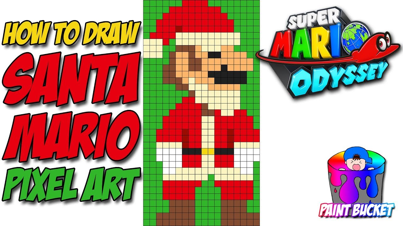 How To Draw Santa Mario Super Mario Odyssey 8 Bit Pixel Art Christmas Drawing