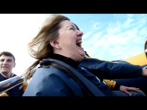 Julie on the speed boat in Cardiff Bay